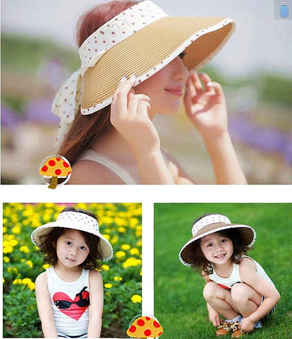 7 Color Summer parenting style sun block hat roll-up easy carry beach visor cap