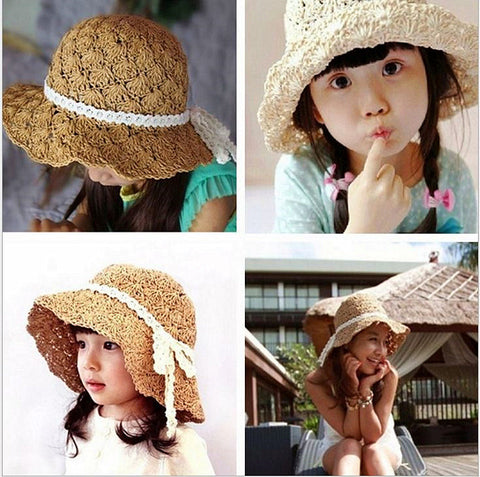 Cute natural fiber kid adult girl sun block hat soft comfortable easy folding
