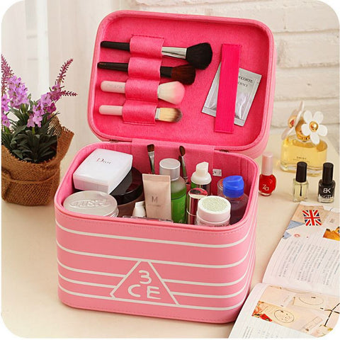 New cosmetics tool case double layer built-in mirror multi-function storage box