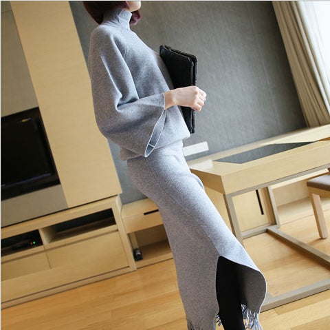 2017 Women Winter Skirt Suit Elegant Tassels Batwing Sleeve Dress Sweater