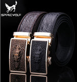 Fashion High-end men genuine leather belt buckle automatic sliding lead leading crocodile pattern casual belts