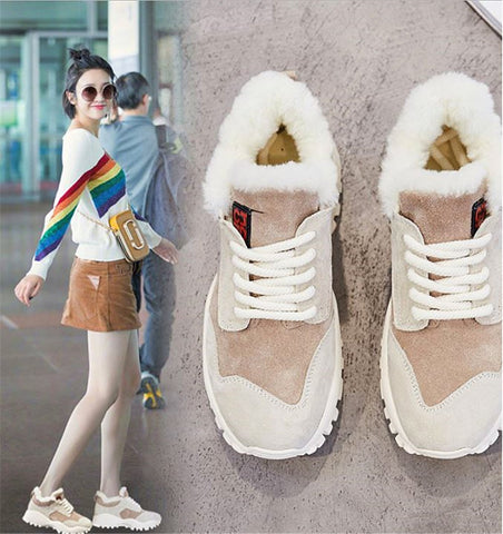 Winter Suede Leather Sneaker Sport Shoes Lace-up Shoes Warm