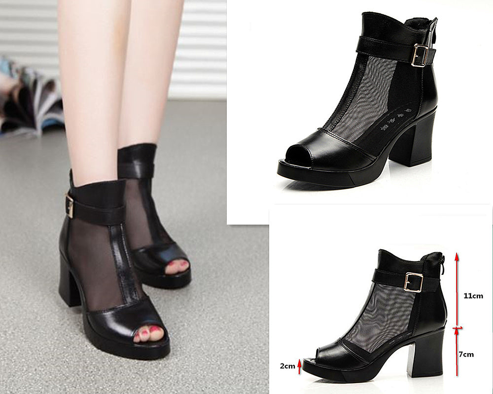 2017 Fashion Women Leather Heels Gladiator Zipper Peep Toe Gauze Breathable Comfortable