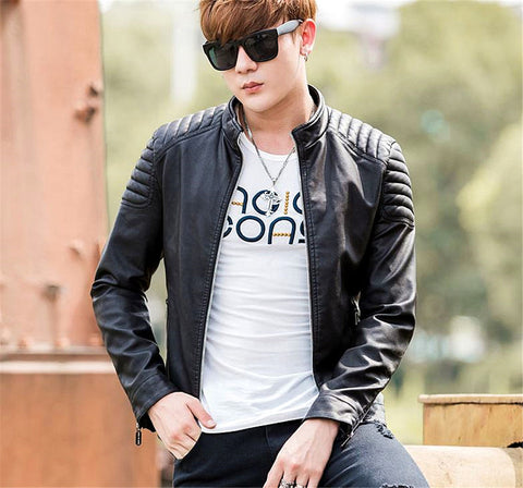 Cool Man Winter Thicken Jacket Add Villi Young & Adult Slim Pu Zipper Jacket