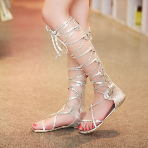 Brand Woman Sandals Gladiator Sexy Retro Knee High Lady Summer Shoes Punk Cross Tie Women Summer Sandals Flat Plus Size