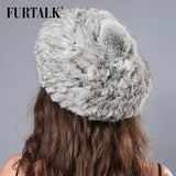 2015 FURTALK new design natural rabbit fur hat real animal winter hat fur beret for women
