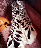Retro geometric printing blanket type thickening warm women scarf shawl