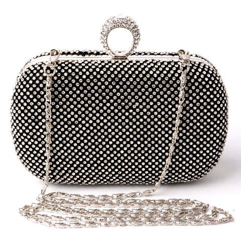 Ladies Women Evening Bags Finger Ring Crystal Day Clutch Full Diamonds Mini Purse Bag With Chains Shoulder Bag