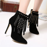 New women's sexy high heels Tassel Perforation Pointed Toe stilettos Boots ladies Pumps celebrity Party shoes