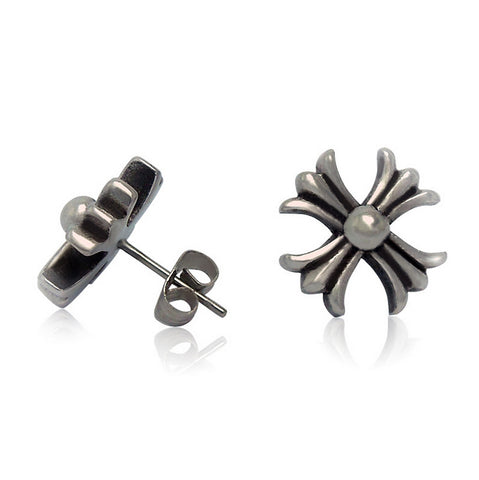 2015 new fashion men Titanium steel earrings retro cross earrings high quality jewelry CF059