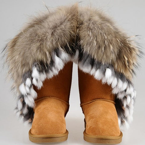 Plus Boots Real Fox Rabbit Fur Tassel Waterproof Genuine Leather Waterproof