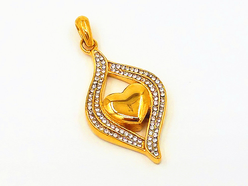 "18K Gold Crystal Heart Ash Pendant Silver Stainless Steel Chain 22"" Funnel"