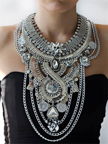 2016 Hot Bohemia Women Big Necklaces Fashion Rhinestones Vintage Metal Choker Statement Necklaces & Pendants Collares Jewelry
