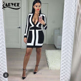 2016 new sexy women deep V neck Long sleeve bandage dress white black strap patchwork evening party prom winter Dress