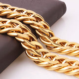 21mm 24in Huge Heavy 18K Gold Stainless Steel Necklaces Cuban Curb Link Chain