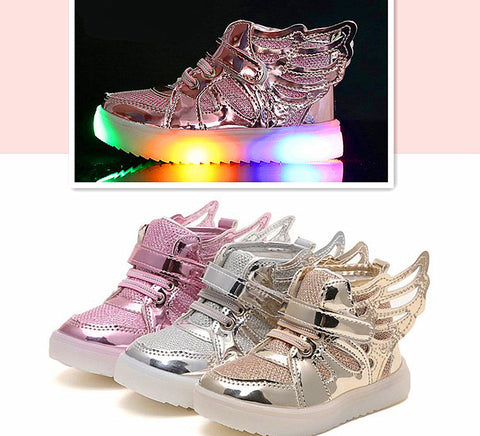 1-12 ages 3D Wings kid canvas flats Led sneaker unisex casual shoes Velcro tape