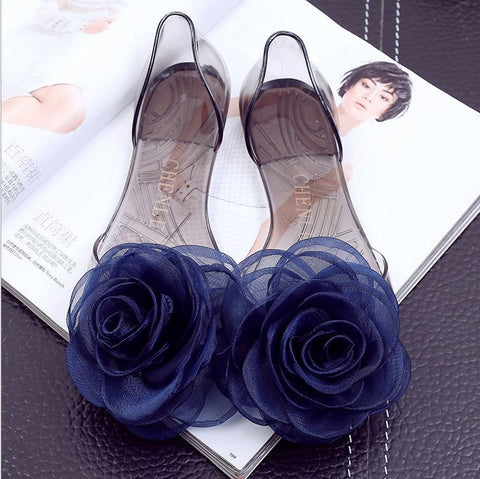 Beach shoes organza roses jellies sandals flats flops summer women casual shoes