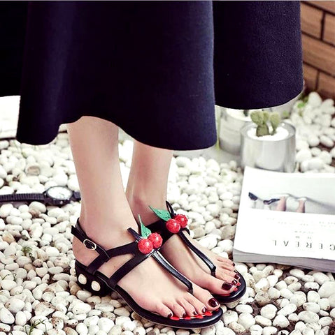 Fashion Women Cherry T Bars Ankle Strap Sandals Shoes PU Beach Shoes