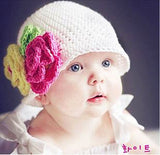 0-2 Ages Crochet Baby hat girl flower warm  Crochet knitting wool hat
