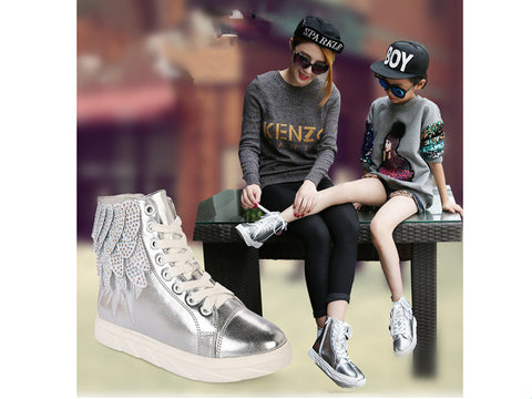 New fashion parenting sneaker feathers crystal twinkle short boots