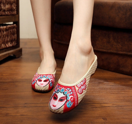 Fashion Women Sandals Slippers Flats Canvas Shoes Embroidery Soft Sole Casual Shoes Plus Size 40