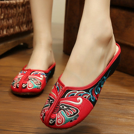 Fashion Women Sandals Slippers Heel Demin Shoes Chinese Flower Embroidery Casual Shoes