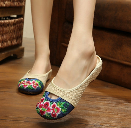 Art Women Sandals Slippers Heel Demin Shoes Chinese Flower Embroidery Casual Shoes
