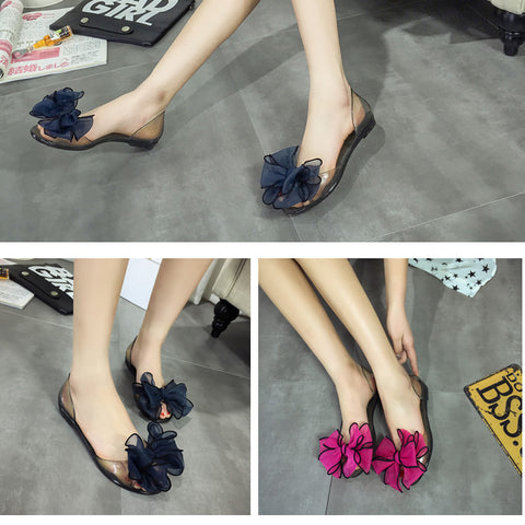 Fashion silk bowknot jellies sandals chain flats women Shoes