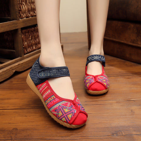 Cute women Flat Flops Embroidery Soft Sole Slip-On Casual Shoes Rubber Sole