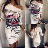 New Arrival Fashion Floral Print Party Dresses Sexy Oblique Neck Plus Size Women Clothing