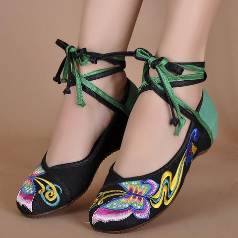 Fashion Canvas Demin Flats With Embroidery Soft Sole Lady Shoes Women Shoes Canvas Shoes