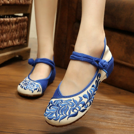 Demin Embroidery Soft Sole Lady Retro Women Shoes Canvas Flats Heel