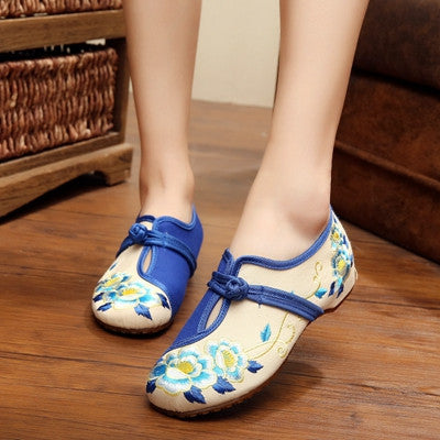 New Retro Women Shoes Canvas Flats Heel Demin Embroidery Soft Sole Lady