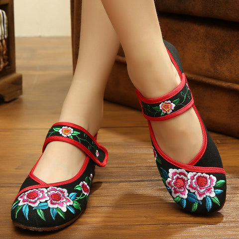 Retro Women Shoes Canvas Flats Heel Demin Embroidery Soft Sole Lady