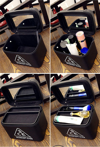 New cosmetics case built-in mirror multi-function storage box