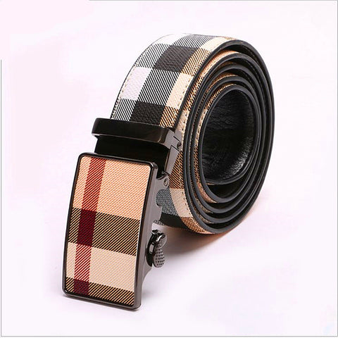 Brand name lattice pattern unisex belts fashion man belts auto buckle