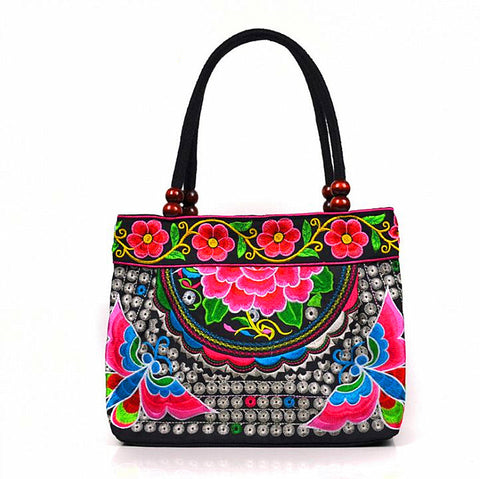 National Style Floral Featured Embroidery Canvas Small Bag Handbags