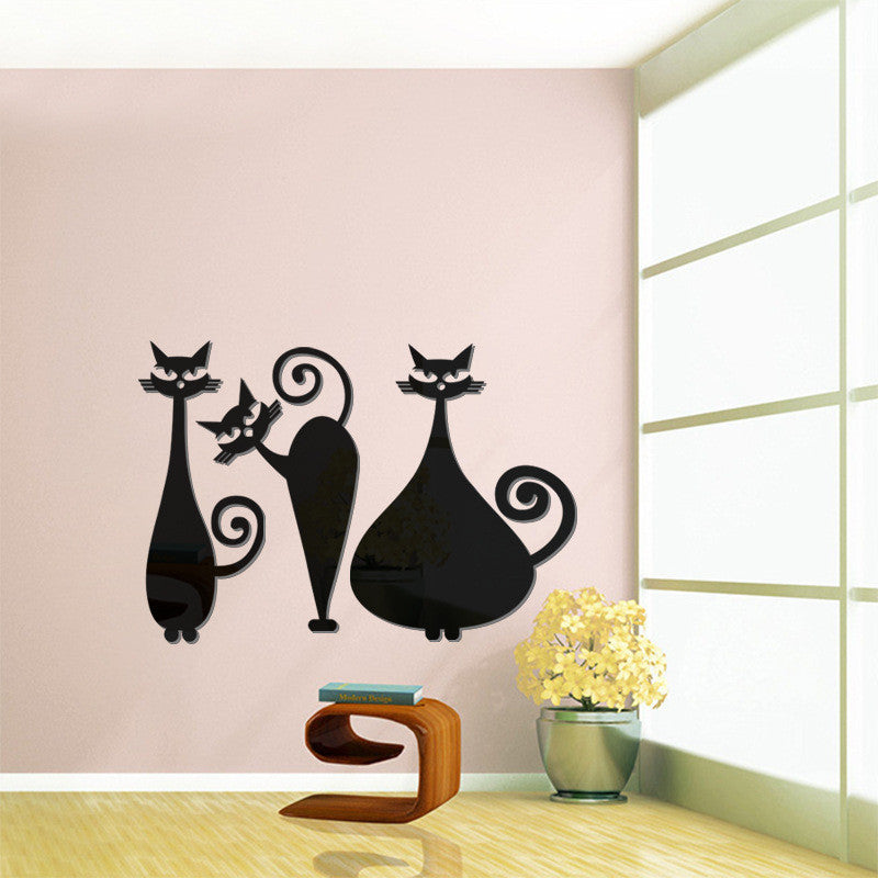 Very Cute Cats Home Decoration Diy Mirror Wall Stick Sticker For Wall