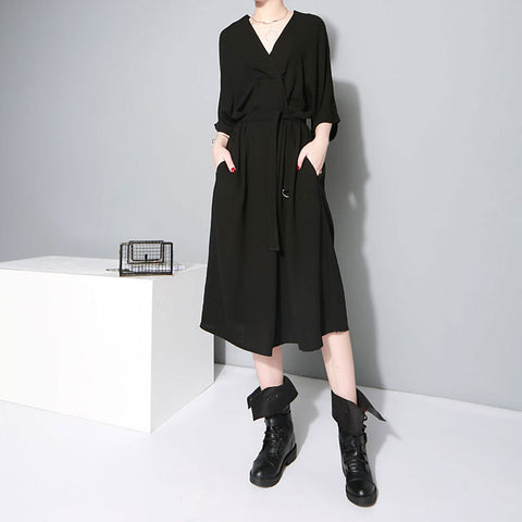 2018 Fashion Loose Waist Belt V-Neck Dresses Spring and Autumn