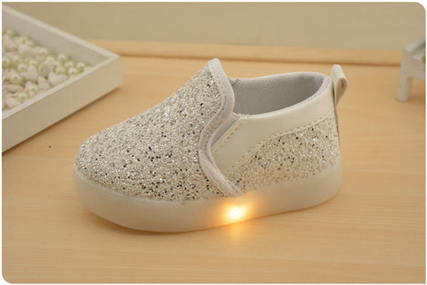 1-7 Ages new led kid shoes unisex loafer casual shoes sequins upper non-slip