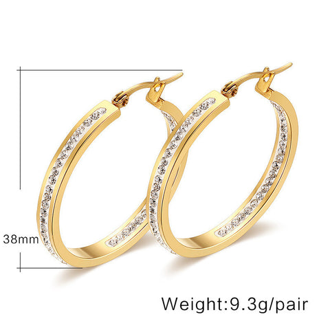 New classics women earrings titanium steel a round zircon ear clip type/a pair