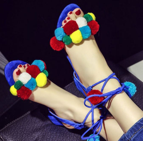 Plus New Fashion 2016 Designer Leather Poms Women Sandals lady Shoes