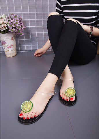 Fresh beach shoes fruit jellies sandals chain flats women Shoes