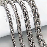 "3/4/5/6/8 MM 18-36"" Titanium Silver Stainless Steel Wheat Braided Chain Accessories"
