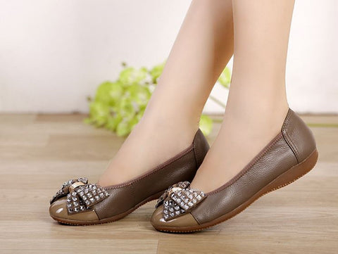 Luxury crystal bow women flats pregnant loafer high quality comfortabble
