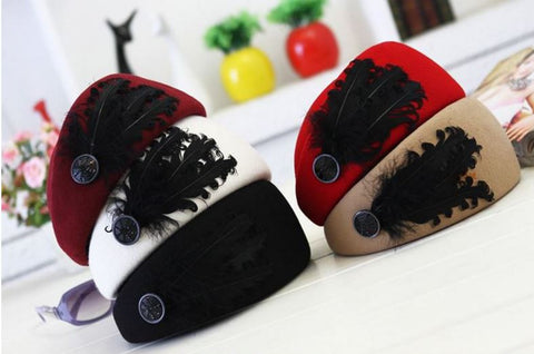 Feather hat women winter woolen elegant party Cap 6 colors