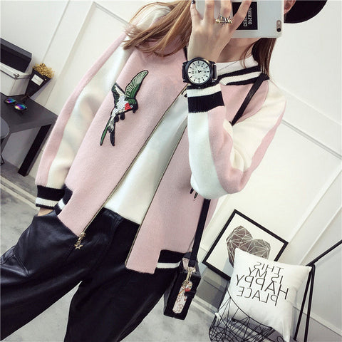 2017 Embroidery knitted sweater women loose coats zipper cardigan outerwear jacket