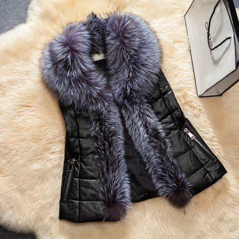 New Imitation sheepskin leather vest women winter fitted vest