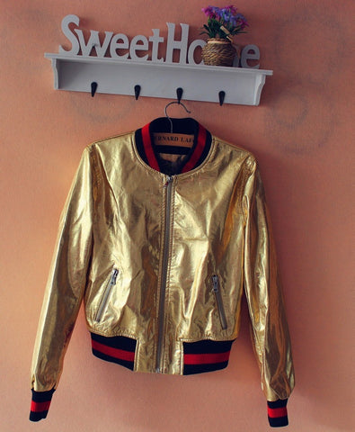 2017 Fashion Women PU Leather Baseball Jacket Coat Bomber Outerwear Tops