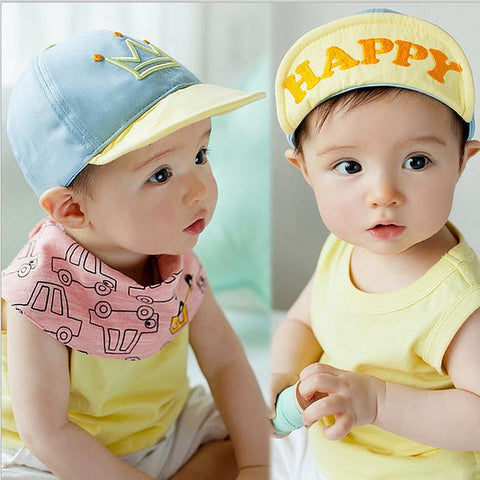 6-18 Months Baby Crown Cap Flap Hat Happy Letter Cotton Soft Baseball Cap
